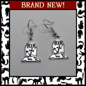 Jewelry - Gravestone Grave Halloween Earrings